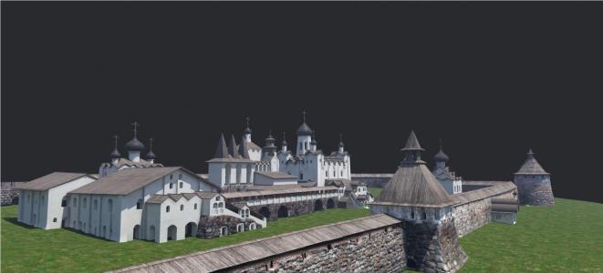 Рис 8. Виртуальная реконструкция храмового комплекса Соловецкого монастыря XVI – XVII вв